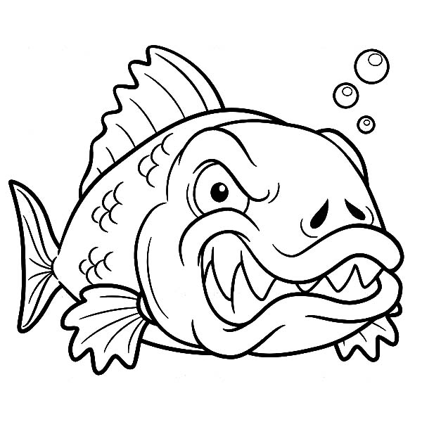 angry monster fish coloring pages - Fish Coloring Pages