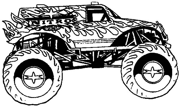 awesome monster truck in monster jam coloring pages