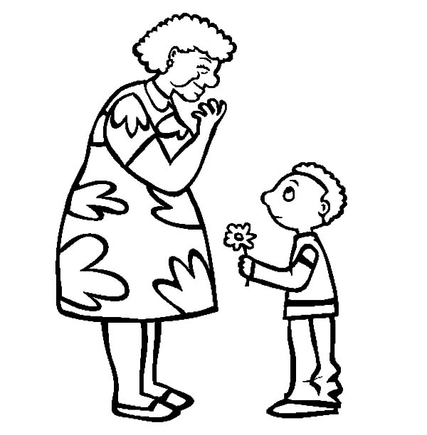 Grandmother, Beautiful Flower For Grandmother Coloring Pages: Beautiful Flower for Grandmother Coloring Pages