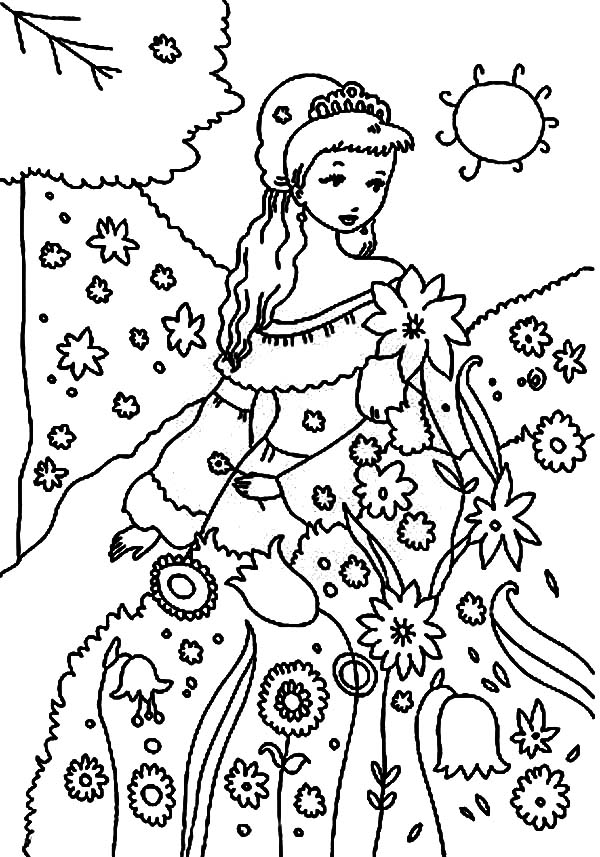 beautiful princess garden coloring pages