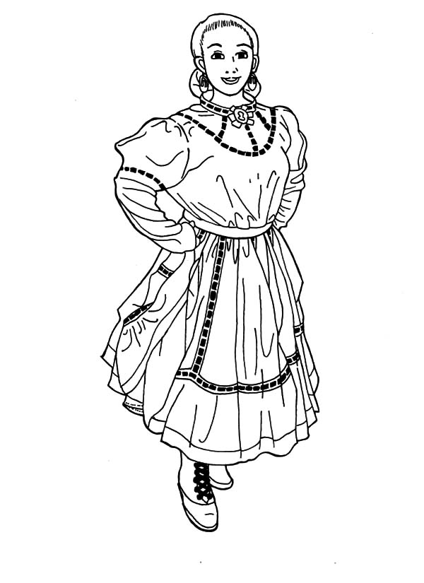 Beautiful Woman In Mexican Dress Coloring Pages