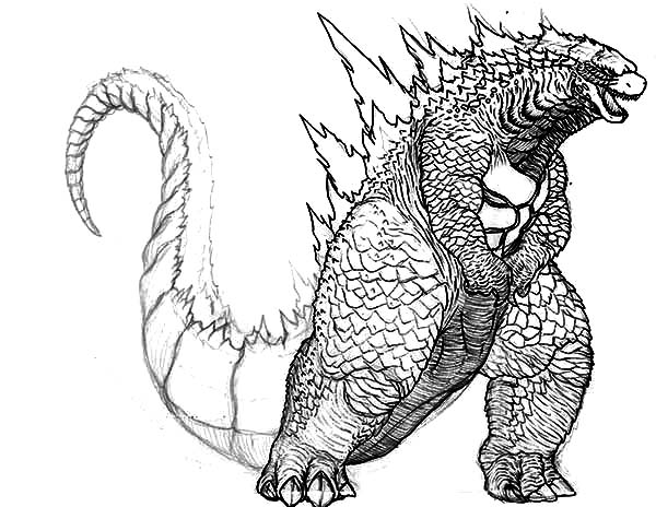 Big Fat Godzilla Coloring Pages Color Luna