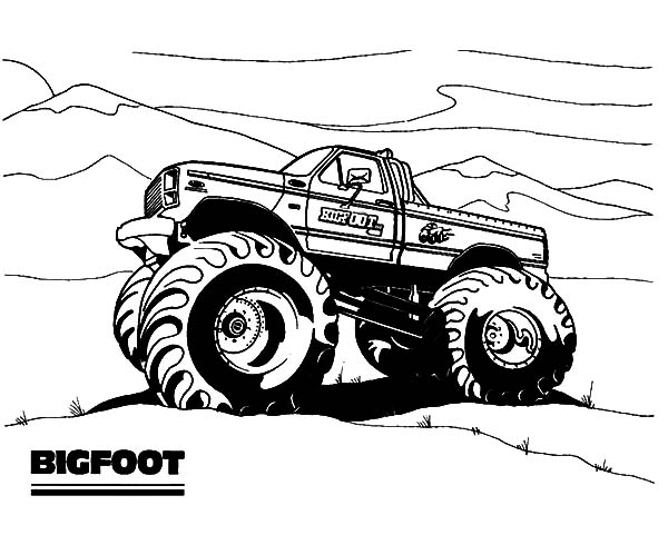 Monster Jam, Bigfoot Monster Jam Coloring Pages: Bigfoot Monster Jam Coloring Pages