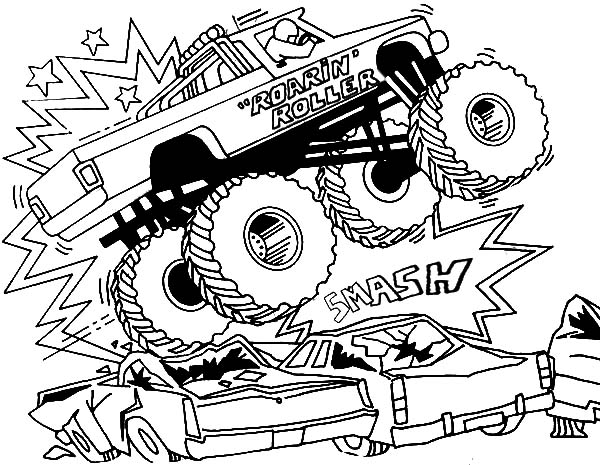 Monster Jam, Bigfoot Monster Jam Smashing Cars Coloring Pages: Bigfoot Monster Jam Smashing Cars Coloring Pages