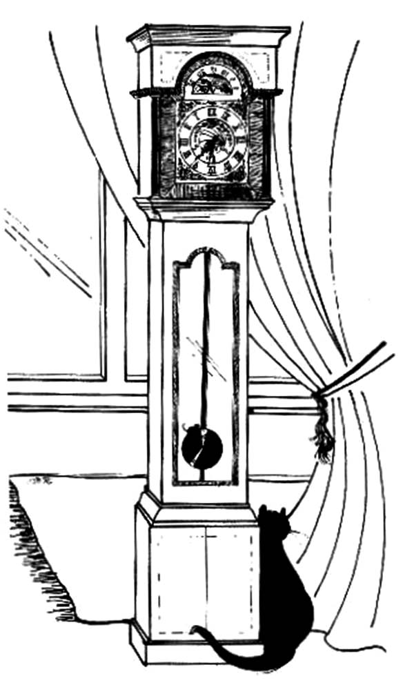 Black Cat Sitting Beside Grandfather Clock Coloring Pages