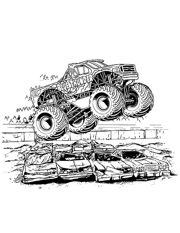 Monster Jam, Blue Thunder Monster Jam Coloring Pages: Blue Thunder Monster Jam Coloring Pages