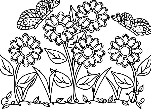 Butterfly With Flower In The Garden Colouring Pages