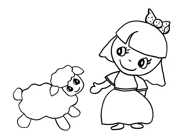 Cartoon Of Mary Had A Little Lamb Coloring Pages