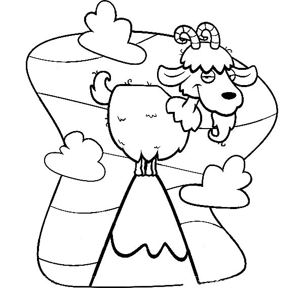 Cartoon Of Mountain Goat Coloring Pages