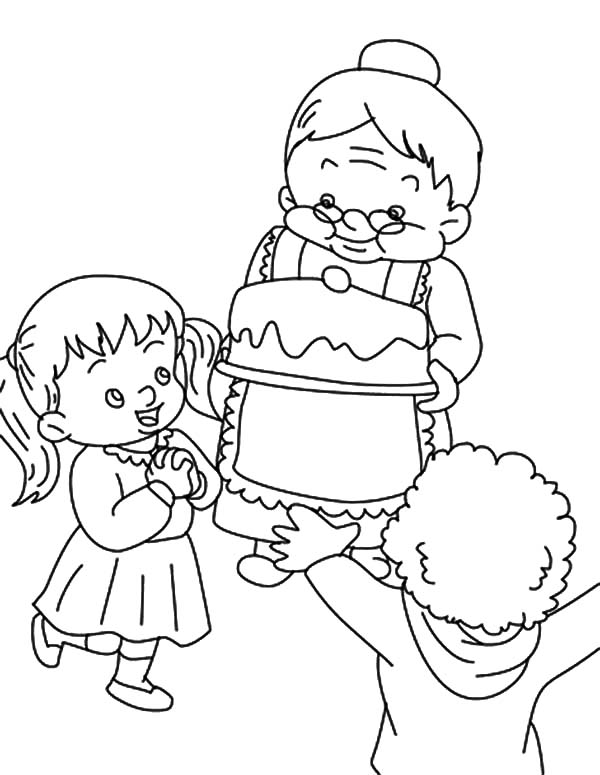 Grandmother, Celebrate My Birthday With Grandmother Coloring Pages: Celebrate My Birthday with Grandmother Coloring Pages