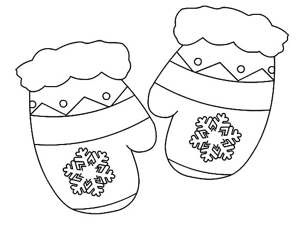 Christmas Gift Mittens Coloring Pages
