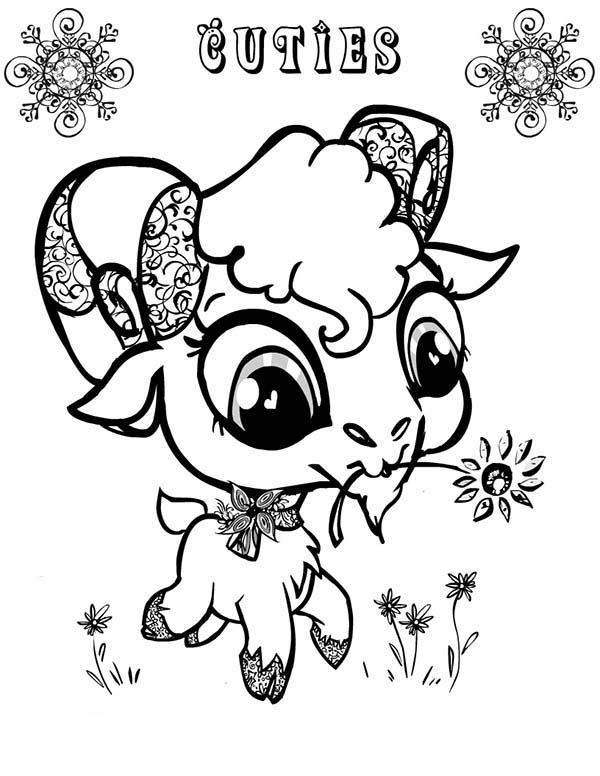 cute big eyed goat coloring pages