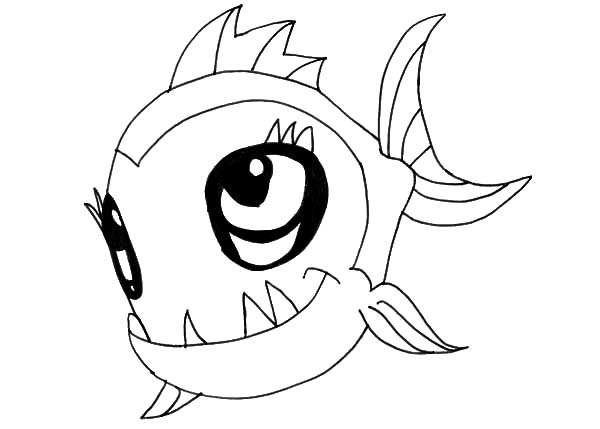 Cute Monster Fish Coloring Pages | Color Luna