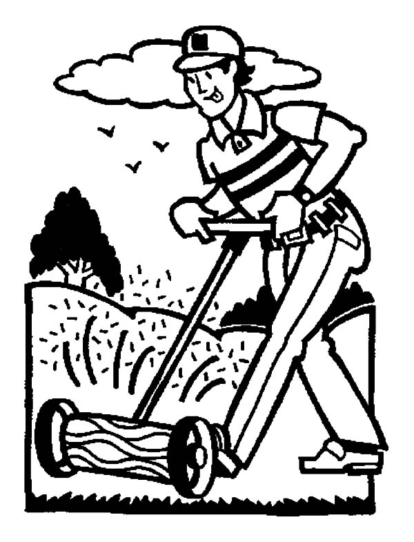 Cutting Grass In Garden Coloring Pages