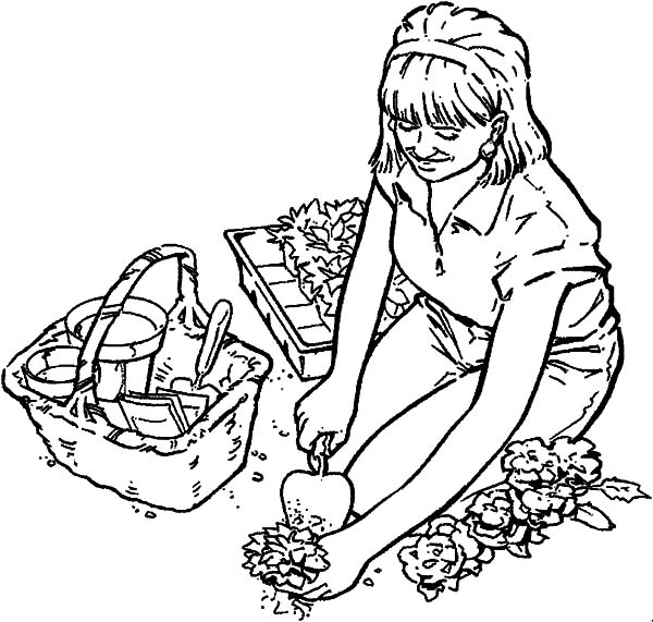 digging hole for rose flower garden coloring pages