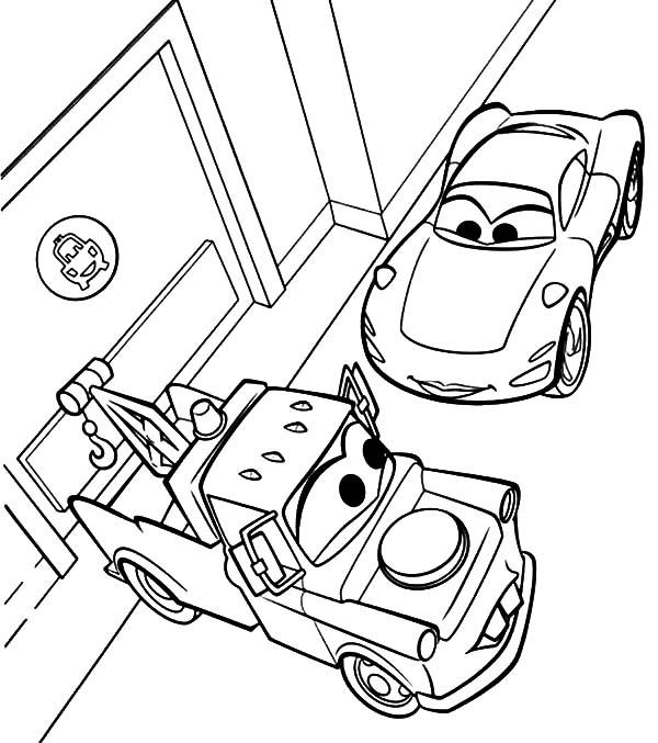 Mater, Disney Cars Sally And Mater Meet At Street Coloring Pages: Disney Cars Sally and Mater Meet at Street Coloring Pages