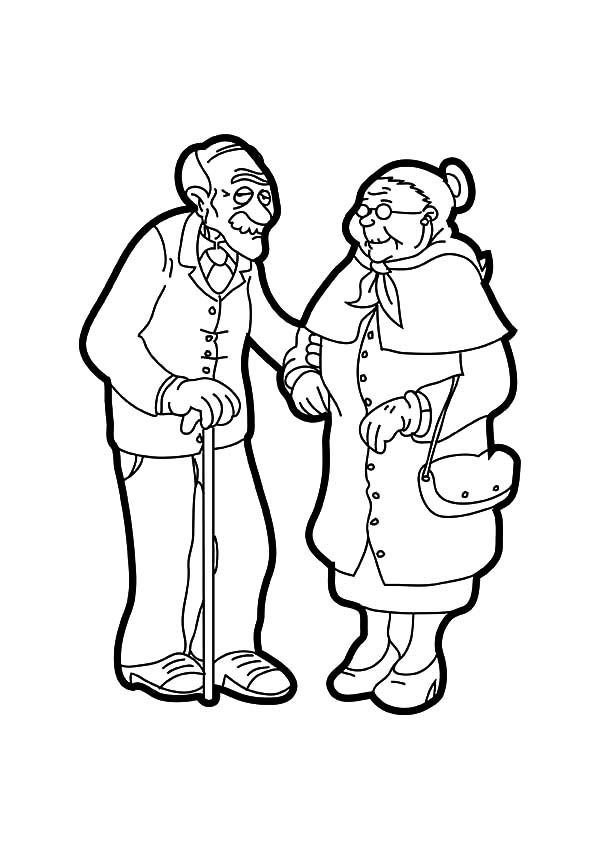 Drawing Grandfather And Grandmother Coloring Pages