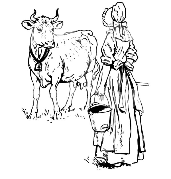 Milking Cow Dutch Lady Want To Her Coloring Pages
