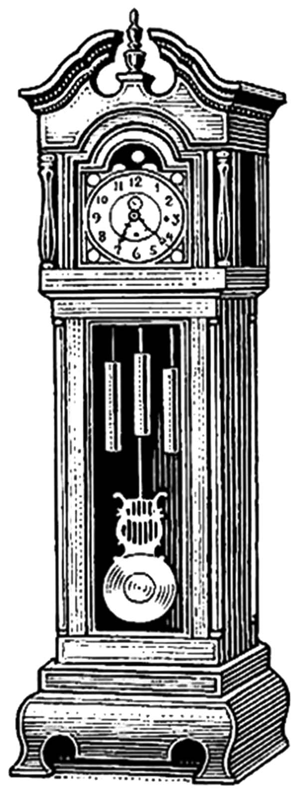 exclusive design grandfather clock coloring pages color luna