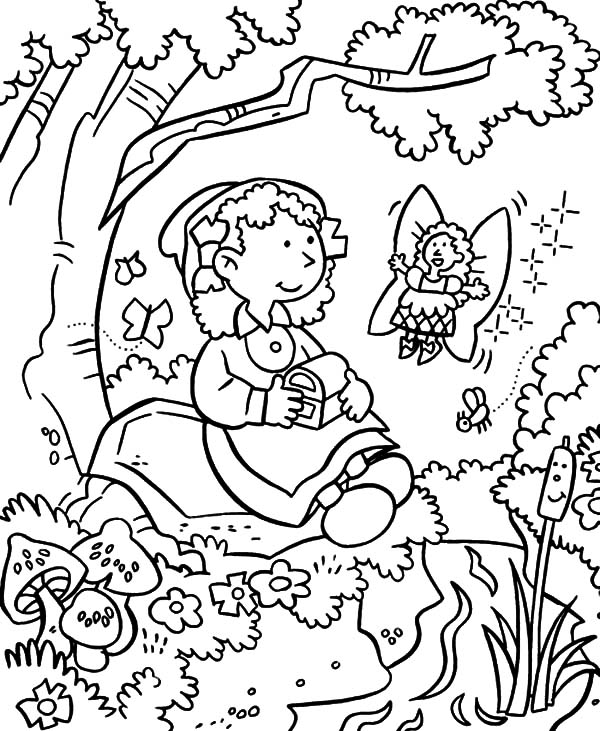 Garden Fairy Give Treasure Chest In Coloring Pages