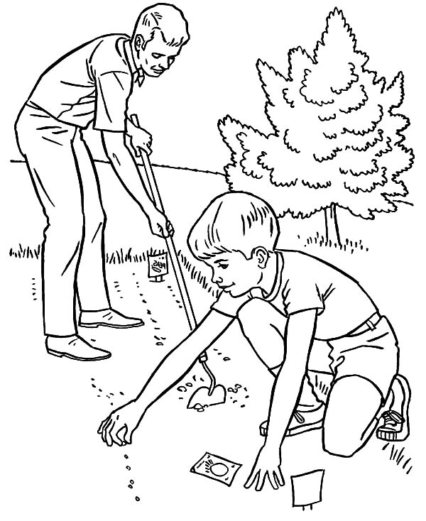 Garden Father And Son Planting Seed In The Coloring Pages