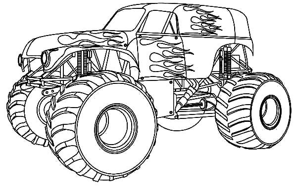 Fire Monster Truck at Monster Jam Coloring Pages Color Luna