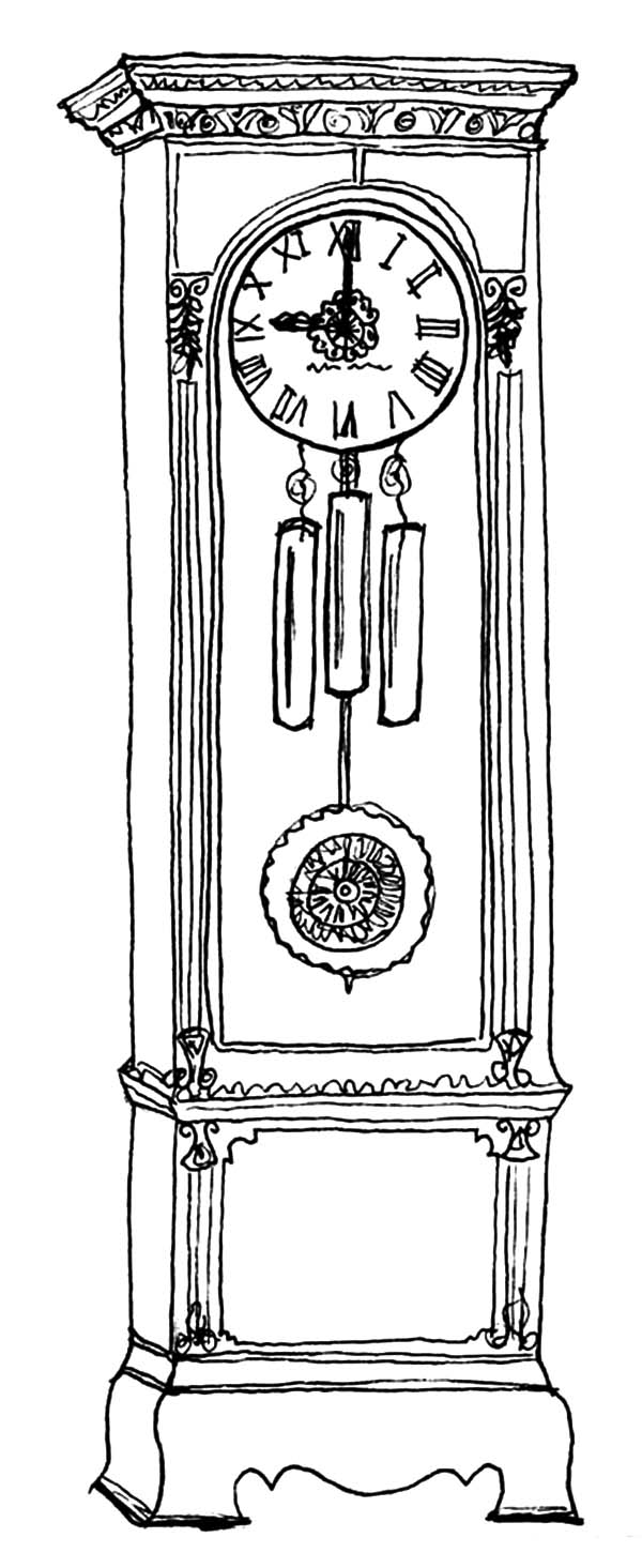 Floor Grandfather Clock Coloring Pages