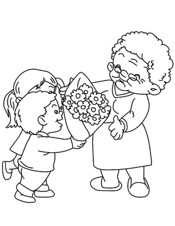 Grandmother Flower Bouquet For Our Coloring Pages