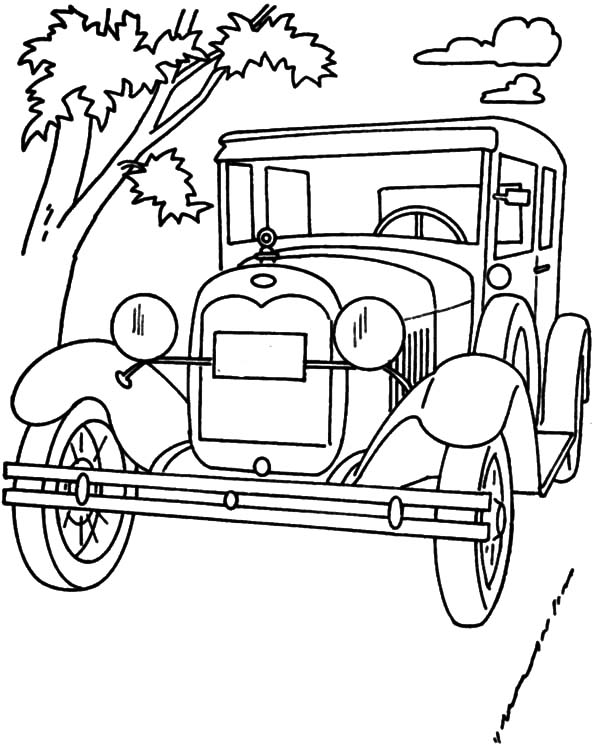 Model t Car, Ford Classic Model T Car Coloring Pages: Ford Classic Model T Car Coloring Pages