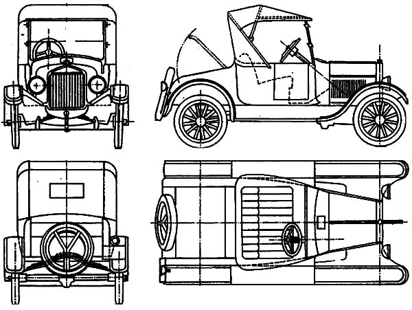 Model t Car, Ford Model T Car Concept Coloring Pages: Ford Model T Car Concept Coloring Pages
