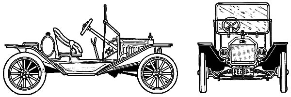 Model t Car, Ford Model T Car Speedster 1915 Coloring Pages: Ford Model T Car Speedster 1915 Coloring Pages