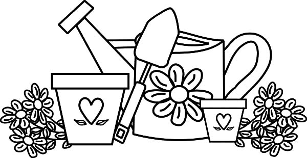 Garden, Garden Watering Can And Flower Pot Coloring Pages: Garden Watering Can and Flower Pot Coloring Pages