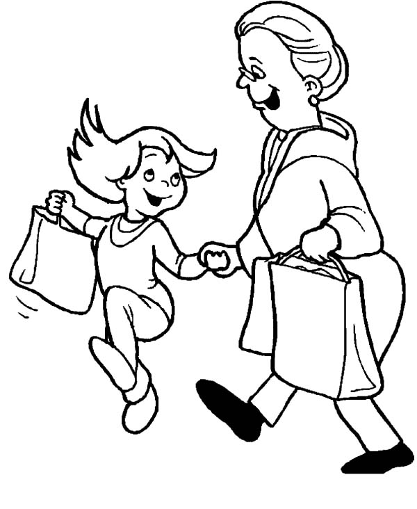Grandmother, Girl Going To Supermarket With Grandmother Coloring Pages: Girl Going to Supermarket with Grandmother Coloring Pages