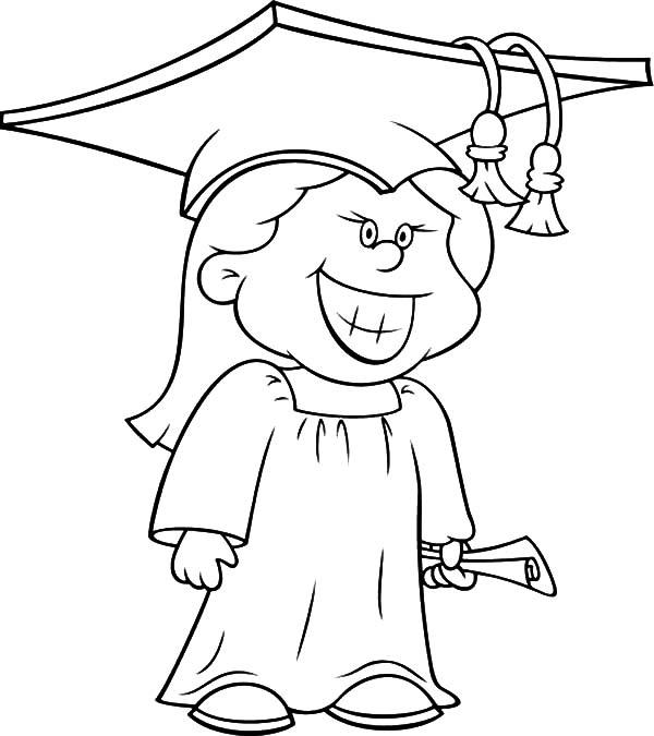 graduation cap and gown coloring pages - graduation girl is proud of herself coloring pages color