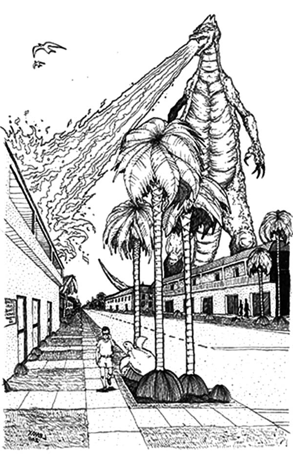 Godzilla Burn Building With Fire Breath Coloring Pages