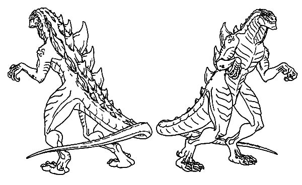 godzilla couple coloring pages