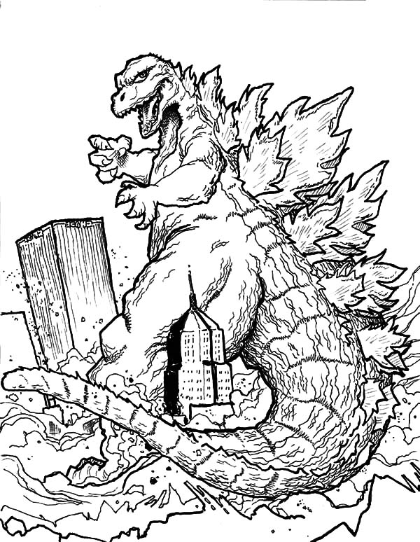 Godzilla Destroying Town Coloring Pages Color Luna