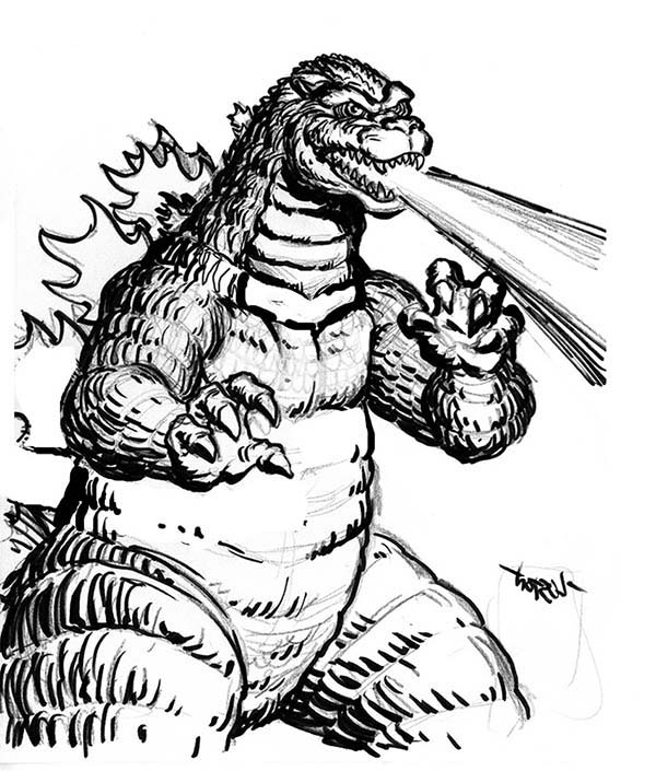 Godzilla, Godzilla Fire Breath Coloring Pages: Godzilla Fire Breath Coloring Pages