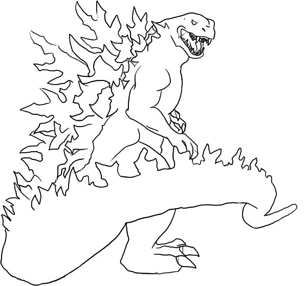 Godzilla, Godzilla Set On Fire Coloring Pages: Godzilla Set on Fire Coloring Pages
