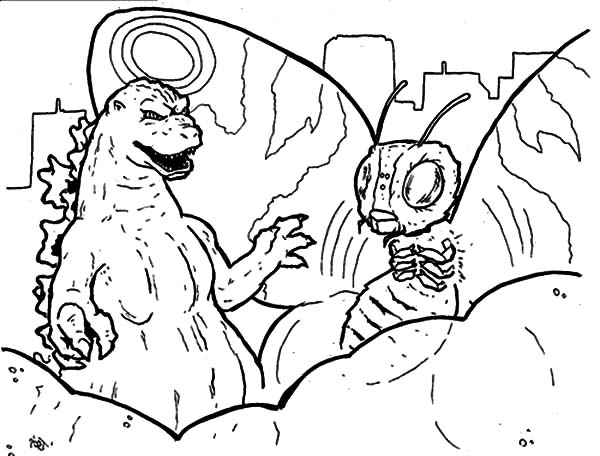 Godzilla And Monster Butterfly Coloring Pages