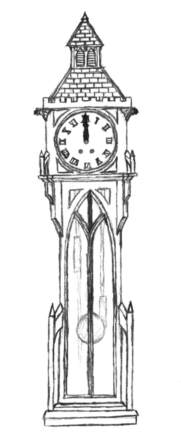 Grandfather Clock, Gothic Grandfather Clock Coloring Pages: Gothic Grandfather Clock Coloring Pages