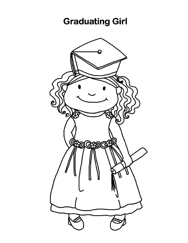 Graduation, Graduating Girl On Graduation Day Coloring Pages: Graduating Girl on Graduation Day Coloring Pages