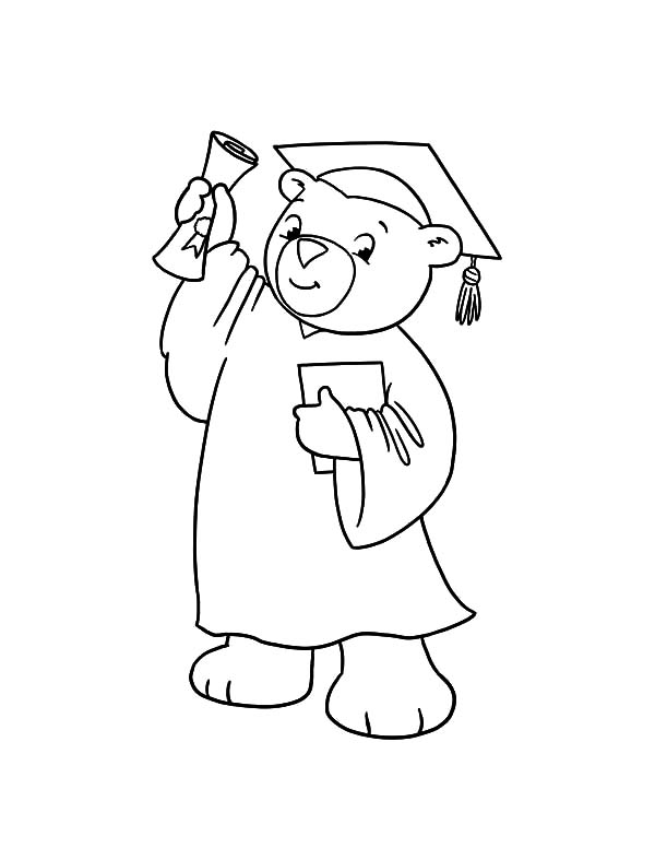 Graduation, Graduation Bear Show His Diploma Coloring Pages: Graduation Bear Show His Diploma Coloring Pages