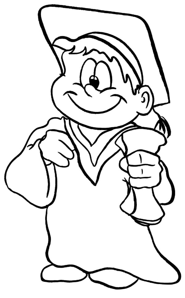graduation boy tide up his clothes coloring pages