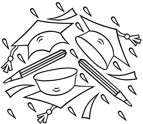 Graduation, Graduation Cap And Pencil Coloring Pages: Graduation Cap and Pencil Coloring Pages