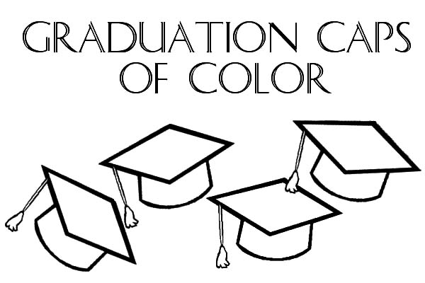 graduation caps of color coloring pages