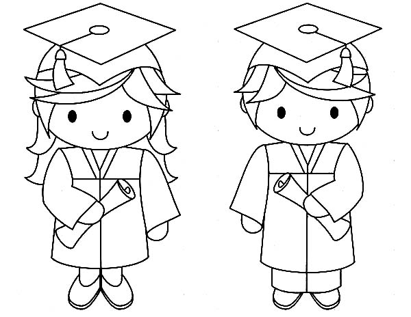 Graduation, Graduation Couple Coloring Pages: Graduation Couple Coloring Pages