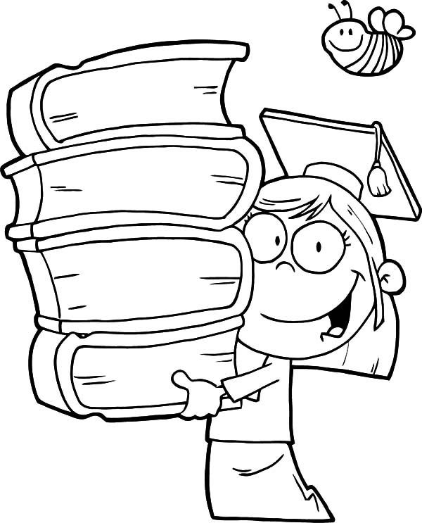 graduation girl walking with pile of books coloring pages