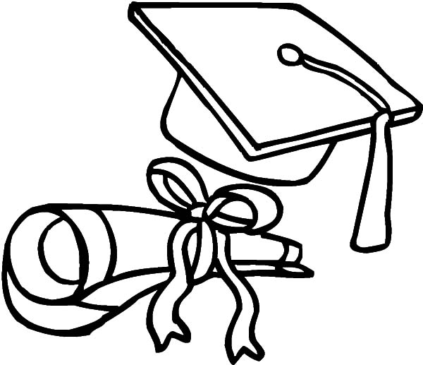 Graduation Cap Coloring Page Printable  Coloring Pages For Kids