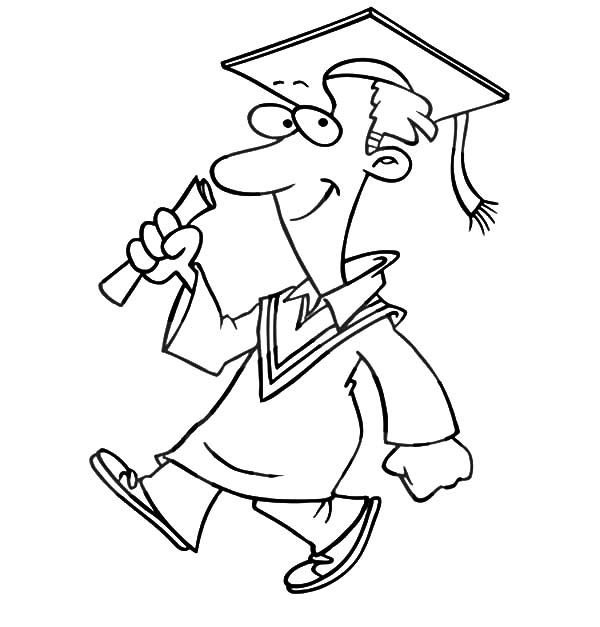 Graduation, Graduation Man Walking Confidently Coloring Pages: Graduation Man Walking Confidently Coloring Pages